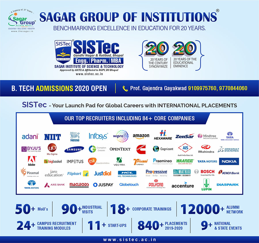 best placement college in bhopal mp, sagar group of institutions, sistec